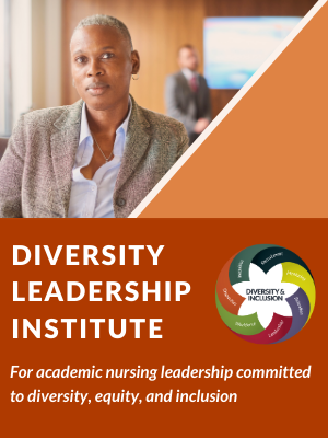 Image of Brochure Cover with text Diversity Leadership Institute - For academic nursing leadership committed to diversity, equity, and inclusion