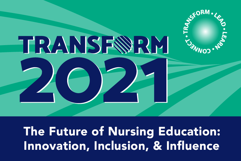 "Houston, TX skyline with text ""Where Nurse Faculty and Innovation Meeting - Transform 2021 - December 2-4, Dallas, TX"