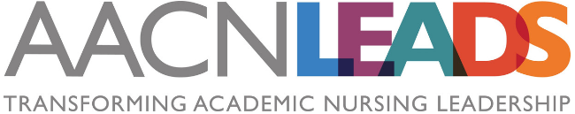 AACN LEADS Logo with text transforming academic nursing leadership
