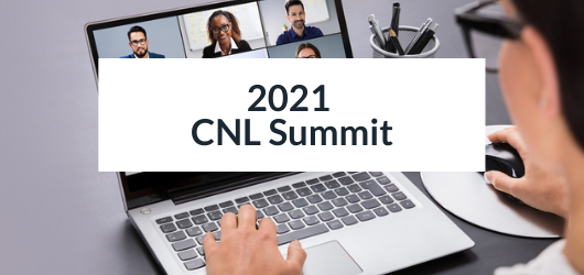 Image of a women watching a video conference on her laptop - 2021 CNL Summit